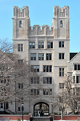 Yale University Silliman College Quadrangle Architectural View. Silliman is the largest Residential College on the Yale University Campus occupying a full city block facing College Street to the West and Grove Street to the North. Van Shef Tower stands above the West Portico to Silliman.