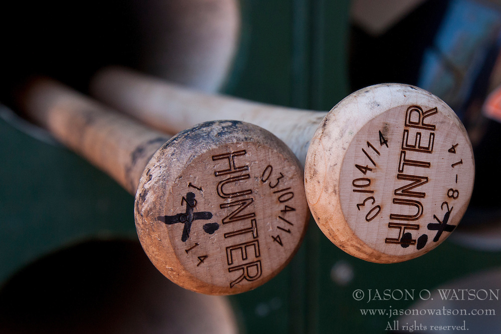 OAKLAND, CA - MAY 26:  Detailed view of baseball bats belonging to Torii Hunter #48 of the Detroit Tigers (not pictured) the dugout before the game against the Oakland Athletics at O.co Coliseum on May 26, 2014 in Oakland, California. The Oakland Athletics defeated the Detroit Tigers 10-0.  (Photo by Jason O. Watson/Getty Images) *** Local Caption ***