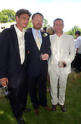 Jamie, Jared and Damian Harris. Marriage of Emilia Fox to Jared Harris. St. Michael's and All Angels. Steeple. Nr. Wareham. Dorset. 16 July 2005. ONE TIME USE ONLY - DO NOT ARCHIVE  © Copyright Photograph by Dafydd Jones 66 Stockwell Park Rd. London SW9 0DA Tel 020 7733 0108 www.dafjones.com