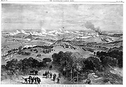 Franco-Prussian War 1870-1871: Battle of Sedan, 1 September 1870.  View of battlefield from where the King of Prussia stood (Wilhelm I, Emperor of Germany from 1871). From 'The Illustrated London News' I October 1870.