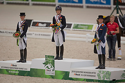 Langenhanenberg, Helen, (GER), Charloote, Dujardin, (GBR), Adelinde, Cornelissen, (NED) - Dressage Kur to Music- Alltech FEI World Equestrian Games™ 2014 - Normandy, France.<br /> © Hippo Foto Team - Dirk Caremans<br /> 25/06/14