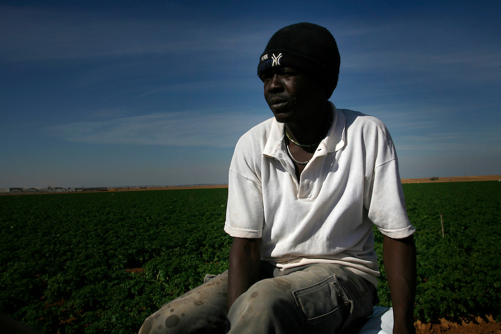 Mohammad Adam Hater 26 refugee from Darfur working  in Kibbutz Urim in Israel at Wednesday November 14.2007......Mohammad born in Darfur and run away from Darfur after his village was burn down and most of the people were dead... He run away to Khartoum and from there to Egypt, in Egypt he didn?t got a refugee papers from the UN. He say it hard to be in Egypt with no papers so he keep his journey to Israel crossing the Sinai desert, wean he pass illegally the border to Israel, the Israeli army got him and put him in detention camp and then he  got to Kibbutz Urim a year and three month ago, Kibbutz Urim voluntary to adopt refugees from Darfur and give them work place to stay and all they needs ..Today one of the family?s in the Kibbutz are taking care of him and he work in irrigation for 10 -12 hours a day with Israeli kibbutz member named Oz Gang..Mohammad say he is happy in Israel and I have food place to sleep and food and no one is stopping him from travel in Israel, but he still didn?t get refugee status from the UN. And because of that he is not filling free...He didn?t have news from his family for three years and he doesn?t know if there are lives or dead. ..