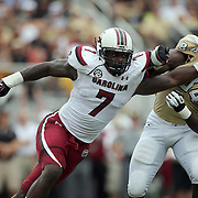 South Carolina Gamecocks defensive end Jadeveon Clowney (7) rushes past UCF Knights tight end Justin Tukes (84)<br /> during an NCAA football game between the South Carolina Gamecocks and the Central Florida Knights at Bright House Networks Stadium on Saturday, September 28, 2013 in Orlando, Florida. (AP Photo/Alex Menendez)