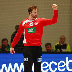 09.01.2015, Rothenbach Halle, Kassel, GER, Handball Testspiel, Deutschland vs Island, im Bild Andreas Wolff (Deutschland) ballt nach einer Parade die Faust // during the International Handball Friendly Match between Germany vs Iceland at the Rothenbach Halle in Kassel, Germany on 2015/01/09. EXPA Pictures © 2016, PhotoCredit: EXPA/ Eibner-Pressefoto/ Weiss<br /> <br /> *****ATTENTION - OUT of GER*****