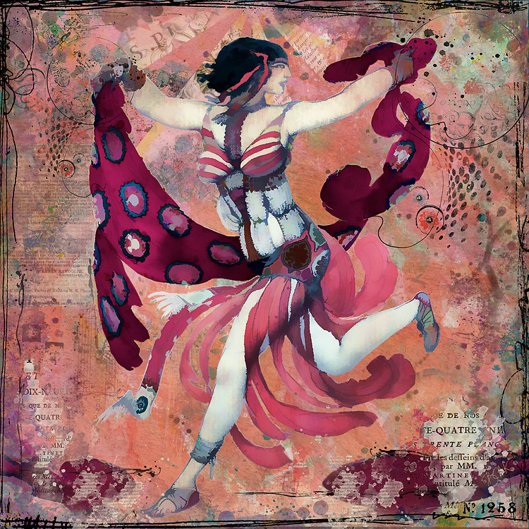 Pink and mauve toned drawing of a dancing woman evoking the 1920s