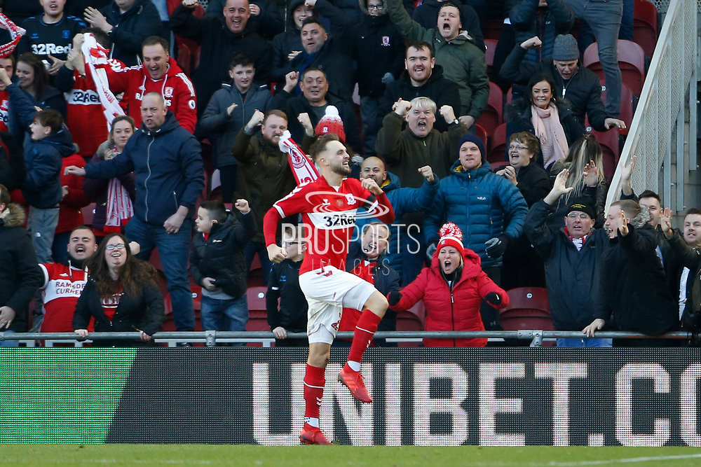 Goal celebration by Middlesbrough midfielder Lewis Wing (26)  during the EFL Sky Bet Championship match between Middlesbrough and Leeds United at the Riverside Stadium, Middlesbrough, England on 9 February 2019.