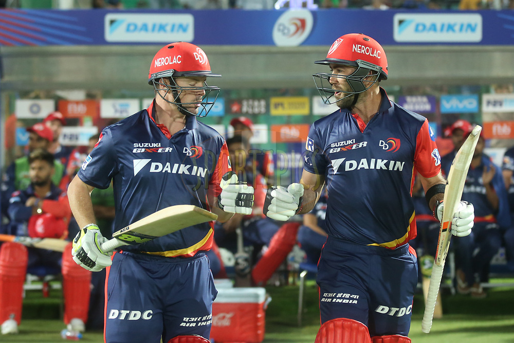 Colin Munro and Glenn Maxwell of the Delhi Daredevils during match six of the Vivo Indian Premier League 2018 (IPL 2018) between the Rajasthan Royals and the Delhi Daredevils held at the The Sawai Mansingh Stadium in Jaipur on the 11th April 2018.<br /> <br /> Photo by: Deepak Malik / IPL/ SPORTZPICS
