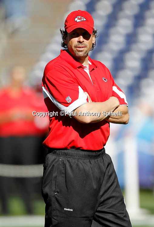 Kansas City Chiefs head coach Todd Haley looks on during pregame warmups during the NFL week 14 football game against the San Diego Chargers on Sunday, December 12, 2010 in San Diego, California. The Chargers won the game 31-0. (©Paul Anthony Spinelli)