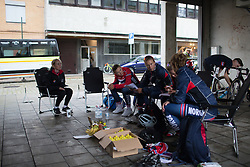 Team Norway holds a final tactical meeting before the start of the 76,1 km first stage of the 2016 Ladies' Tour of Norway women's road cycling race on August 12, 2016 between Halden and Fredrikstad, Norway. (Photo by Balint Hamvas/Velofocus)