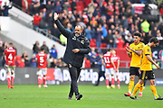 Wolverhampton Wanderers manager Nuno Espirito Santo celebrates the 1-0 win over Bristol City at full time during the The FA Cup 5th round match between Bristol City and Wolverhampton Wanderers at Ashton Gate, Bristol, England on 17 February 2019.