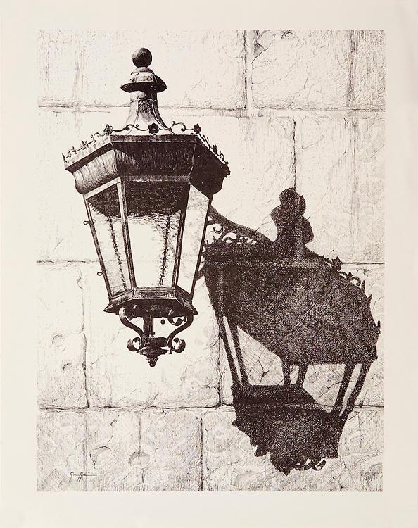 Cat. #16 - Lithographic print of Pen and Ink drawing of a typical lantern found in the ancient cities throughout the Caribbean. This drawing is based on one in Old San Juan, Puerto Rico. <br /> Paper size is 11 x 13 7/8&quot;. Image size is approximately 9 x 12 &quot; <br /> Cat. #16 - Impresi&oacute;n litogr&aacute;fica de un dibujo a plumilla de un farol t&iacute;pico que se encuentran en las antiguas ciudades coloniales en todo el Caribe . Este farol esta ubicado en el Viejo San Juan, Puerto Rico. <br /> Tama&ntilde;o del papel es 11 x 13 7/8&quot;. Tama&ntilde;o de la imagen es aproximadamente 9 x 12 &quot;