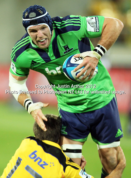 Highlanders' James Haskell in action during the 2012 Super Rugby season, Hurricanes v Highlanders at Westpac Stadium, Wellington, New Zealand on Saturday 17 March 2012. Photo: Justin Arthur / Photosport.co.nz