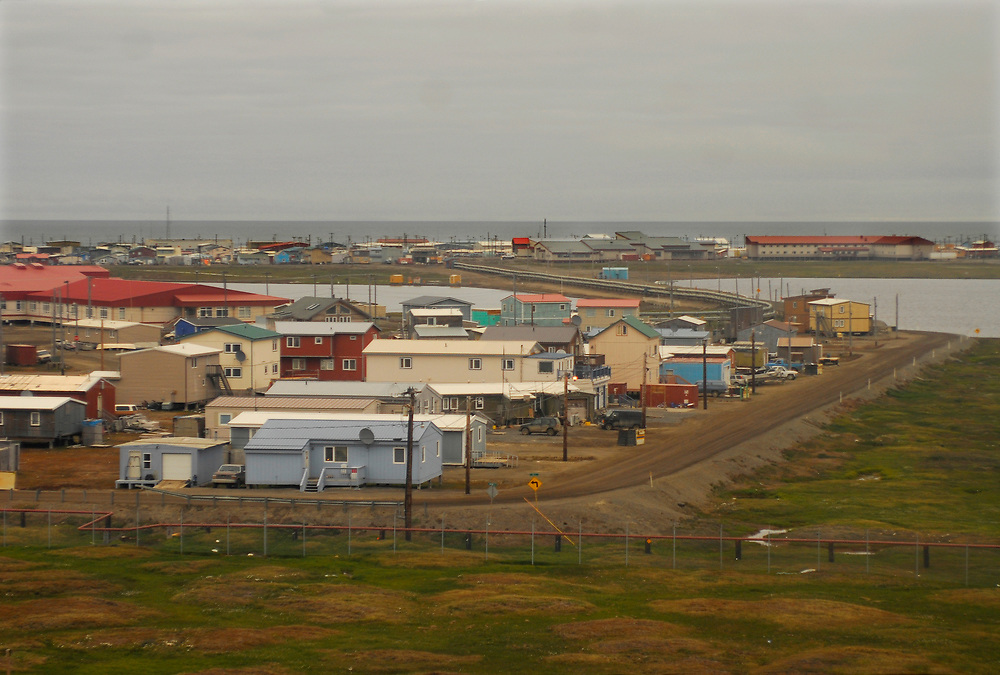 Alaska, Barrow. Aerial view of town. Block A and Ipalook Elementary School. July 2007