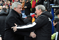 Football - 2019 / 2020 Premier League - Crystal Palace vs. Newcastle United<br /> <br /> Palace Manager, Roy Hodgson greets Newcastle Manager,Steve Bruce at Selhurst Park.<br /> <br /> COLORSPORT/ANDREW COWIE