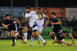 Matt Banahan of Bath Rugby takes on the Newcastle Falcons defence - Photo mandatory by-line: Patrick Khachfe/JMP - Mobile: 07966 386802 10/04/2015 - SPORT - RUGBY UNION - Newcastle upon Tyne - Kingston Park - Newcastle Falcons v Bath Rugby - Aviva Premiership