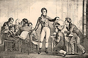 Louis-Philippe (1773-1850) the last king of France (1830-1848). Son of 'Philippe Egalite', Duke of Orleans.  Lithograph after the painting by David showing him in Switzerland teaching geography and mathematics under an assumed name at the college at Reichenau during his 21 years of exile from France.