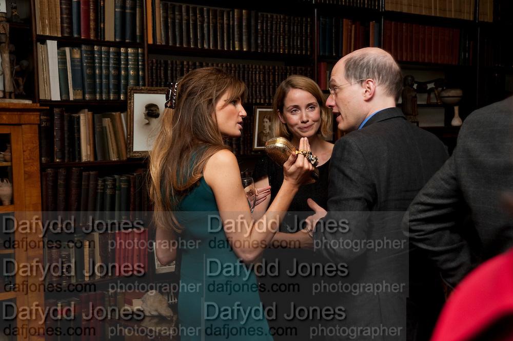JEMIMA KHAN; MRS. ALAIN DE BOTTON; ALAIN DE BOTTON , Freud Museum dinner, Maresfield Gardens. 16 June 2011. <br /> <br />  , -DO NOT ARCHIVE-© Copyright Photograph by Dafydd Jones. 248 Clapham Rd. London SW9 0PZ. Tel 0207 820 0771. www.dafjones.com.