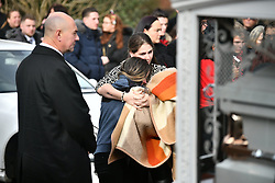 """© Licensed to London News Pictures. 13/02/2020. Sevenoaks, UK. The coffins and mourners make their way to St John the Baptist church in Sevenoaks, Kent for he funeral of traveller brothers Billy and Joe Smith. The twin brothers, who were made famous by the television programme """"My Big Fat Gypsy Wedding"""", were found hanged in woodland three days after Christmas. Photo credit: Ben Cawthra/LNP"""