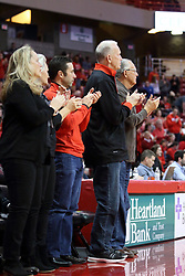 21 February 2018:  Doug Collins and Don Franke during a College mens basketball game between the Drake Bulldogs and Illinois State Redbirds in Redbird Arena, Normal IL
