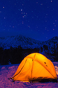 Winter camp at night, John Muir Wilderness, Sierra Nevada Mountains, California  USA