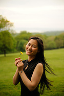 Chinese model, Xiaoyan Fan, on a spring day  in the Rockefeller Preserve...