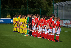 NEWPORT, WALES - Wednesday, July 25, 2018: The Combined Regional and South team's line up for the national anthem before the Welsh Football Trust Cymru Cup 2018 at Dragon Park. (Pic by Paul Greenwood/Propaganda)