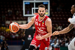 April 29, 2018 - Milan, Milan, Italy - Pablo Bertone (#25 VL Pesaro) drives to the basket during a basketball game of Poste Mobile Lega Basket A between  EA7 Emporio Armani Milano vs VL Pesaro at Mediolanum Forum, in Milan, Italy, on April 29, 2018. (Credit Image: © Roberto Finizio/NurPhoto via ZUMA Press)