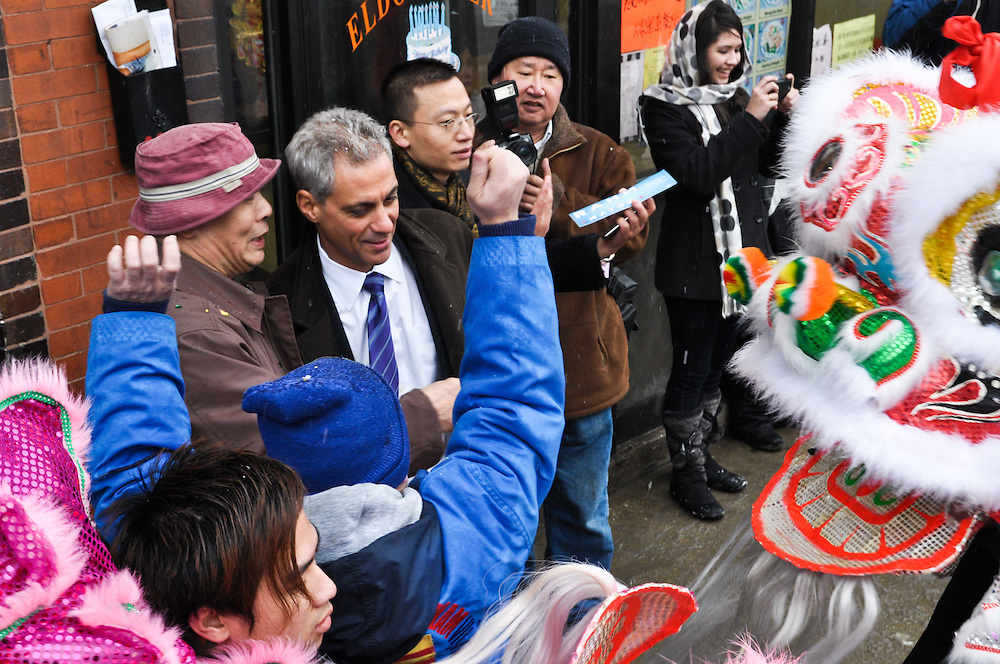 With the Chicago mayoral race looming, Rahm Emanuel and other candidates made appearances during the Chinese New Year festivities. Chinatown, Chicago, February 6th, 2011