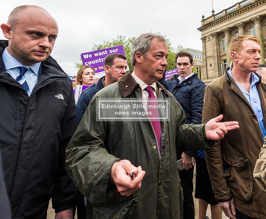 UKIP leader Nigel Farage visits Bolton on his party's Brexit battle bus tour encouraging voters to leave the EU in the referendum of June 23rd<br /> <br /> (c) John Baguley | Edinburgh Elite media