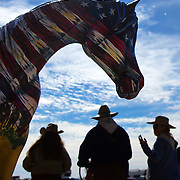 A hand painted horse with the history of Florida and the Great Florida Cattle Drive painted on it sits just outside the Silver Spurs Arena in Kenansville. The painted horse was given away in a raffle with a host of other items related to the cattle drive.<br />