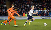 Scotland's Johnathon Russell races away from Holland's Lerin Duarte and Marco Vanginkel - Scotland v Holland - UEFA U21 European Championship qualifier at St Mirren Park..© David Young - .5 Foundry Place - .Monifieth - .Angus - .DD5 4BB - .Tel: 07765 252616 - .email: davidyoungphoto@gmail.com.web: www.davidyoungphoto.co.uk