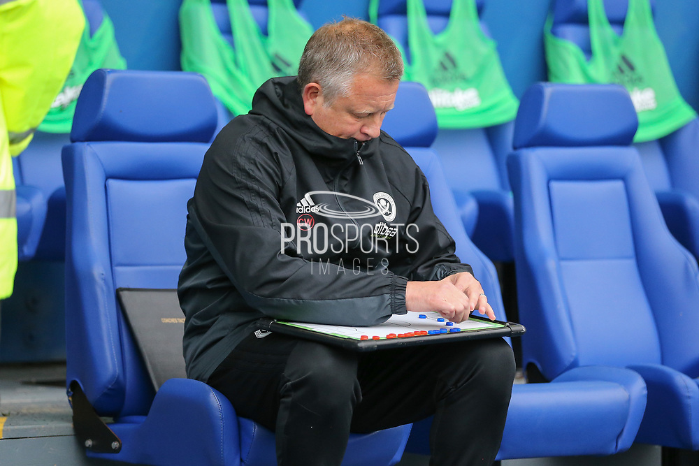 Sheffield United manager Chris Wilder with tactics board during the EFL Sky Bet Championship match between Sheffield Wednesday and Sheffield Utd at Hillsborough, Sheffield, England on 24 September 2017. Photo by Phil Duncan.