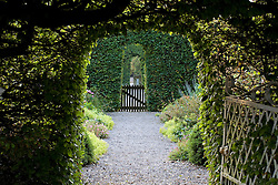Arches cut into beech hedges leading through gardens at Ballymaloe Cookery school
