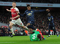 Football - 2018 / 2019 Premier League - Arsenal vs. Manchester United<br /> <br /> Marcus Rashford of United is foiled by Arsenal goalkeeper, Bernd Leno, at The Emirates.<br /> <br /> COLORSPORT/ANDREW COWIE
