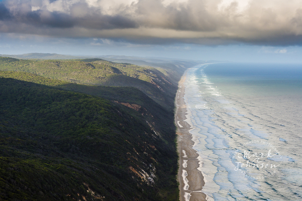 Aerial photograph of the shoreline of Noosa North Shore, Great Sandy National Park, Sunshine Coast, Queensland, Australia