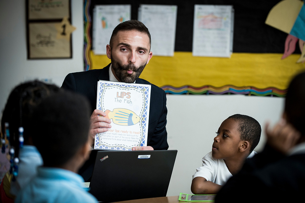 Eric Christopher, Leap ELA Instructional Coach at Turner Elementary School in Washington, D.C., particpiates in a class on Wednesday, May 4, 2017.