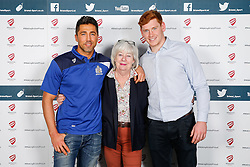 Gavin Henson and Jack Tovey of Bristol Rugby pose during the Player Sponsors' Dinner in the Heineken Lounge at Ashton Gate - Mandatory byline: Rogan Thomson/JMP - 08/02/2016 - RUGBY UNION - Ashton Gate Stadium - Bristol, England - Bristol Rugby Player Sponsors' Dinner.
