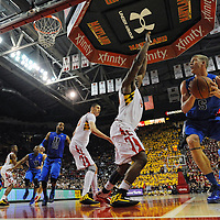 16 February 2013:   Duke Blue Devils forward Mason Plumlee (5) in action against Maryland Terrapins center Shaquille Cleare (44) at the Comcast Center in College Park, MD.