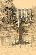 Israel, Jerusalem, A sketch of the Menorah sculpture by Benno Elkan at the entrance to the knesset, the Israeli parliament. Digitally Enhanced