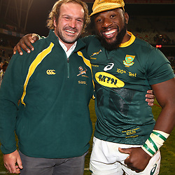 Jannie du Plessis with Tendai Mtawarira of South Africa on his 100th cap during the 2018 Castle Lager Incoming Series 2nd Test match between South Africa and England at the Toyota Stadium.Bloemfontein,South Africa. 16,06,2018 Photo by (Steve Haag JMP)