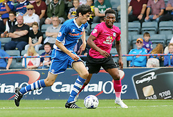 Kgosi Ntlhe of Peterborough United closes down Peter Vincenti of Rochdale - Mandatory byline: Joe Dent/JMP - 07966386802 - 08/08/2015 - FOOTBALL - Spotland Stadium -Rochdale,England - Rochdale AFC v Peterborough United - Sky Bet League One