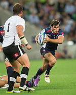Nick Phipps (Rebels) in action during the Round 9 match of the 2013 Super Rugby Championship between RaboDirect Rebels vs Southern Kings at AAMI Park, Melbourne, Victoria, Australia. 13/04/0213. Photo By Lucas Wroe