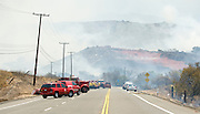 July 13, 2015 - Yorba Linda, CA, USA - <br /> <br /> water planes take to the sky to help put out fires<br /> <br /> Santiago Canhyon Raod south of the 241 was closed to fight a vegetation fire that grew to burn more than 100 acres Monday morning and threatened some structures near Irvine Lake in unincorporated Orange County, California<br /> ©Exclusivepix Media