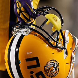 November 10, 2012; Baton Rouge, LA, USA; A LSU Tigers player holds his helmet during the second half of a game against the Mississippi State Bulldogs at Tiger Stadium.  LSU defeated Mississippi State 37-17. Mandatory Credit: Derick E. Hingle-US PRESSWIRE