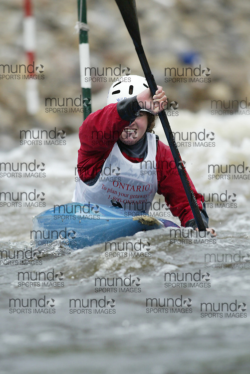 (Ottawa, Ontario---29/05/09)  Thea FROEHLICH competing in the second run of the  K1 Women Junior class at the 2009 Canadian Whitewater Slalom National Team Trials.. The CanoeKayak Canada championship race for canoes and kayaks was held at the Pump House course in Ottawa and was hosted by the Ottawa River Runners. The event ran from 29-31 May 2009. Copyright photograph Sean Burges / Mundo Sport Images, 2009. www.mundosportimages.com / www.msievents.