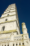 """Minaret at Nagore shrine. The dargah (Muslim shrine) dedicated to the 16th century saint Nagore Andavar (literally """"the Lord (aandavar) of Nagore""""; also popularly called Meeran Sahib or Qadir Wali) is located there, and serves as a pilgrim center."""