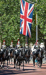 © Licensed to London News Pictures. 01/06/2019. London, UK. Trooping the Colour Colonel's Review takes place in The Mall and at Horse Guards Parade. Reviewed by His Royal Highness The Duke of York, this rehearsal takes place a week before Queen Elizabeth II attends the same ceremony on June 8th to mark her official birthday. Over 240 soldiers from the 1st Battalion Welsh Guards will line the route down The Mall. Also taking part will be up to 1450 soldiers of the Household Division and The King's Troop Royal Horse Artillery, along with up to 400 musicians from the Massed Bands, all of whom will parade on Horse Guards for the second of two formal Reviews. Photo credit: Peter Macdiarmid/LNP