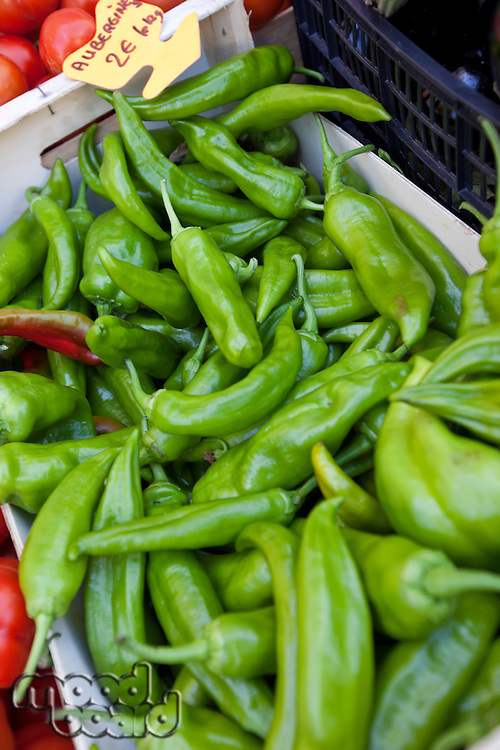 Close-up of green chili pepper in store