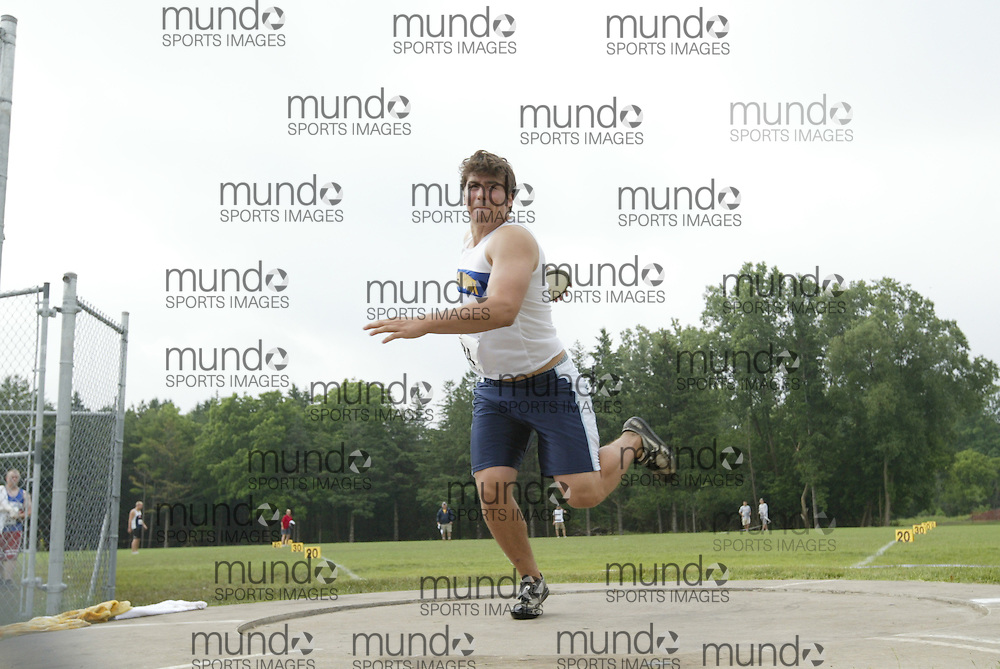 (London, Ontario}---05 June 2010) Adam Karakolis of Birchmount Park - Scarborough competing in the senior boys discus at the 2010 OFSAA Ontario High School Track and Field Championships in London, Ontario, June 05, 2010 . Photograph copyright Sean burges / Mundo Sport Images, 2010.