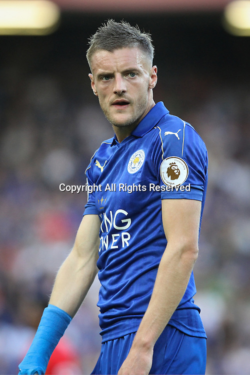 10.09.2016. Anfield, Liverpool, England. Premier League Football. Liverpool versus Leicester. Jamie Vardy of Leicester City reacts to a missed chance.